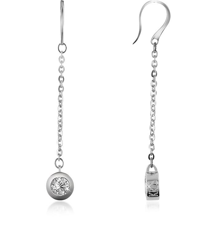 Stella - White Stone Bronze Drop Earrings - Kris