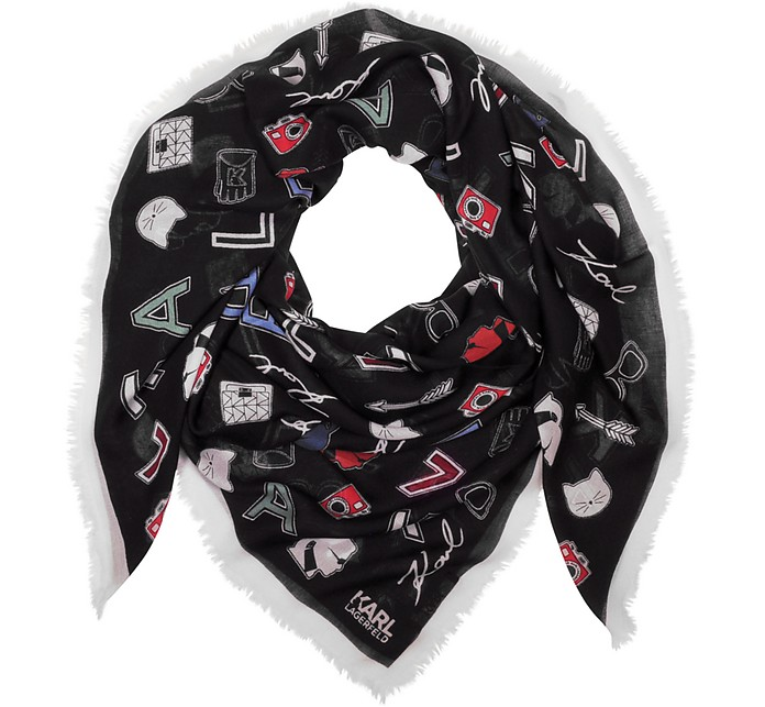 Karl Iconic Pins Modal and Cashmere Printed Wrap - Karl Lagerfeld