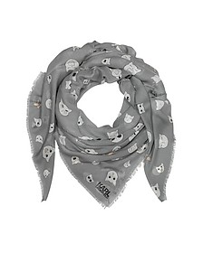Smoke Gray Silk-mix Wrap w/Choupette Faces - Karl Lagerfeld
