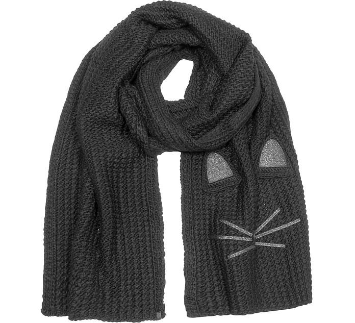 Black Fun Cat Long Scarf - Karl Lagerfeld