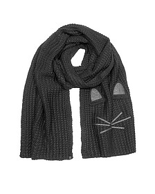 Black Fun Cat Long Scarf - Karl Lagerfeld