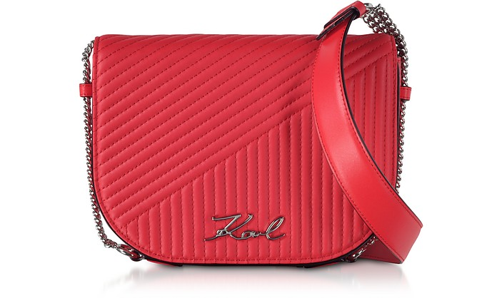 K/Signature Fire Red Quilted Leather Shoulder Bag - Karl Lagerfeld