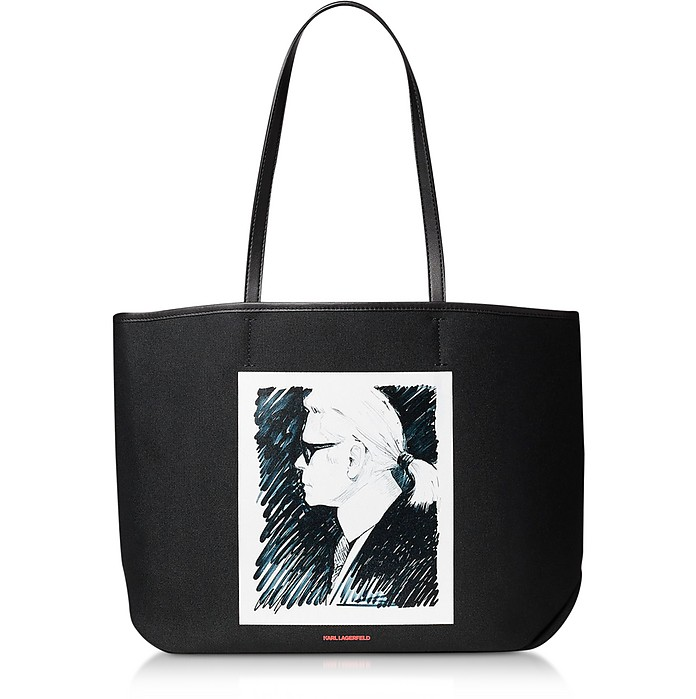 Karl Legend Shopper in Canvas Stampato - Karl Lagerfeld