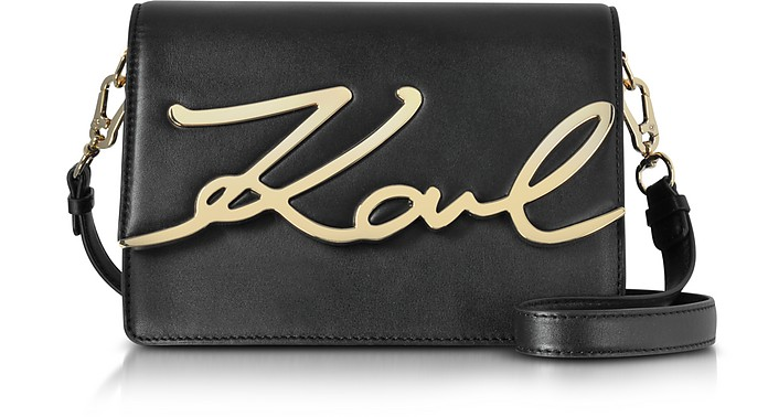 416b6b28b5e2 Karl Lagerfeld Black Leather K Signature Shoulder Bag at FORZIERI