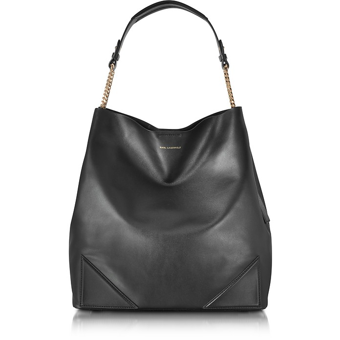 91b2c9131d Karl Lagerfeld Black Leather K Slouchy Hobo at FORZIERI