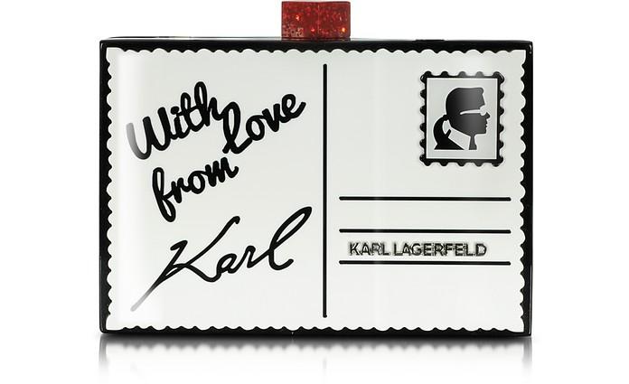 En Éco Postale Pochette Karl Carte Lagerfeld Noir Postcard Cuir lcK3JTF1