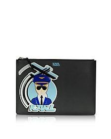 K/Jet 黑色大号手拿包 - Karl Lagerfeld 卡尔·拉格斐