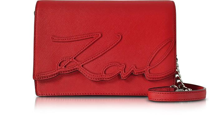 K/Signature Saffiano Leather Shoulder Bag - Karl Lagerfeld