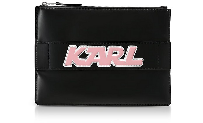 Black Leather K/Sporty Pouch - Karl Lagerfeld