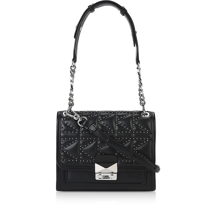 K/Kuilted Mini Borsa a Spalla in Pelle con Mini Borchie - Karl Lagerfeld