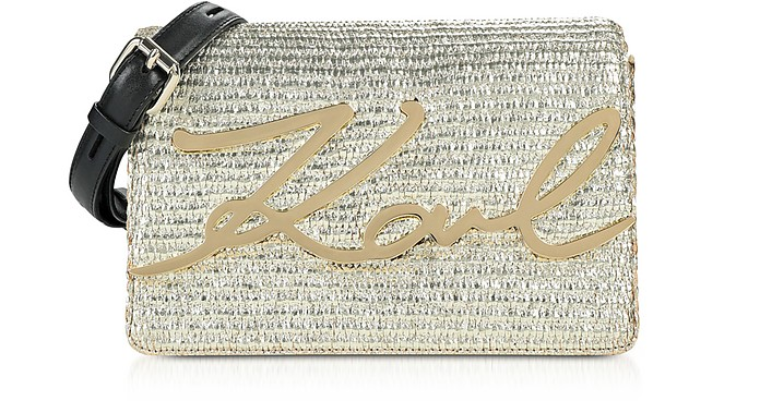 K/Signature Raffia Shoulder Bag - Karl Lagerfeld