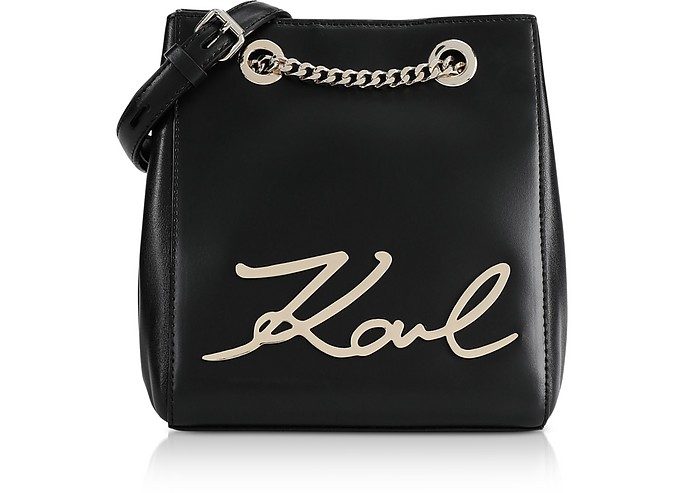 Black and Gold K/Signature Bucket Bag - Karl Lagerfeld