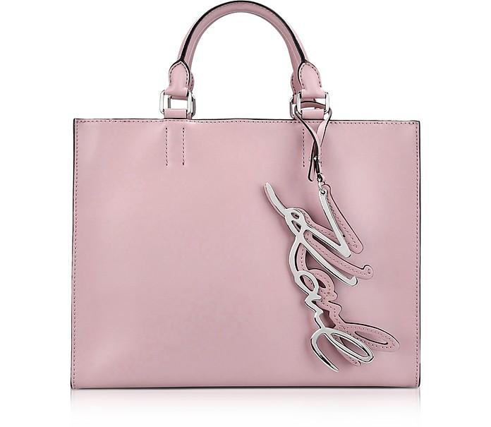 Karl Lagerfeld Kmetal Signature Pink Ballet Leather Shopper Bag At