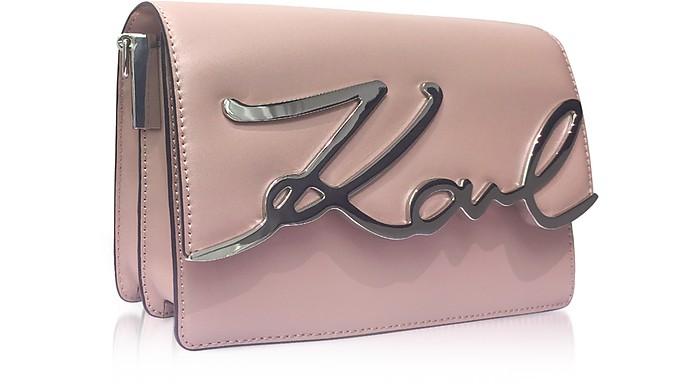 82124e4f3909 Karl Lagerfeld Pink Ballet Leather K Signature Shoulder Bag at FORZIERI