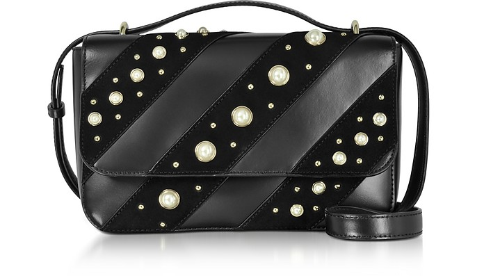 456c271bfb46 Karl Lagerfeld Black Leather K Ikonik Pearls Crossbody Bag at ...