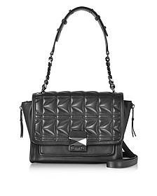 K/Kuilted Black Leather Handbag - Karl Lagerfeld
