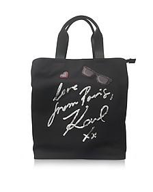 K/Paris Black Canvas Tote Bag - Karl Lagerfeld