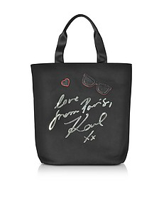 K/Paris Black Canvas Tote Bag - Karl Lagerfeld