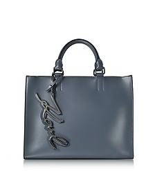 K/Metal Signature Thunder Gray Leather Shopper Bag - Karl Lagerfeld