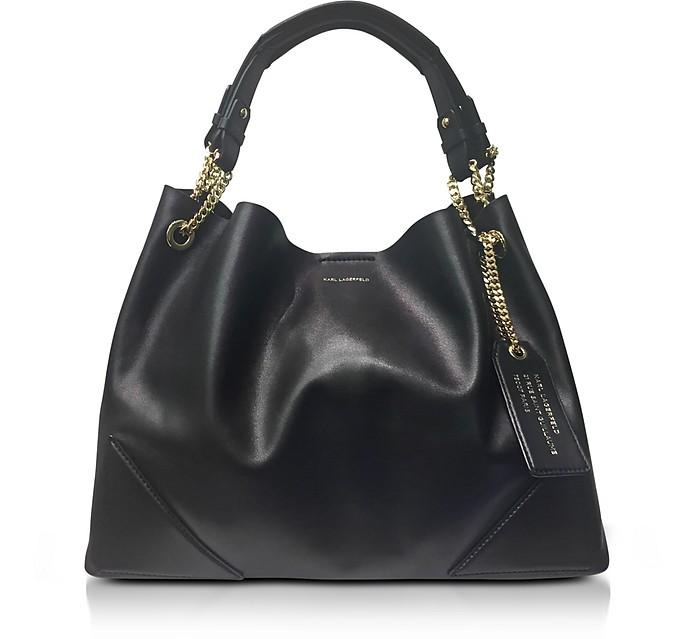 2e3b4fc2a3 Karl Lagerfeld K Slouchy Black Leather Shopper Bag at FORZIERI