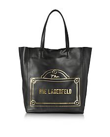 Rue Lagerfeld Black Leather Shopper Bag - Karl Lagerfeld