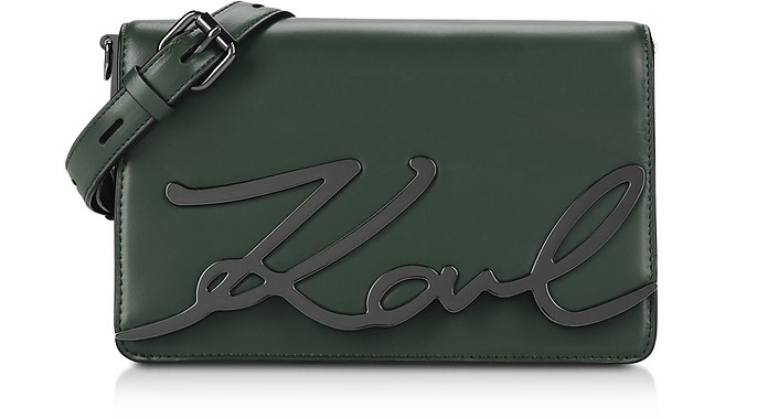 de2dcf310548 Karl Lagerfeld Emerald Green K Signature Shoulder Bag at FORZIERI