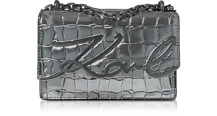 K/Signature Croco Leather Shoulder Bag - Karl Lagerfeld