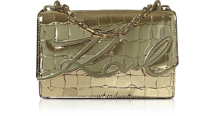 K/Signature Croco Leather Shoulder Bag - Karl Lagerfeld