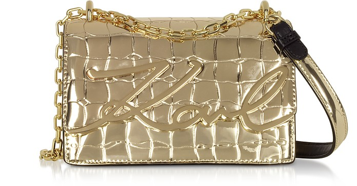 K/Signature Small Croco Leather Shoulder Bag - Karl Lagerfeld