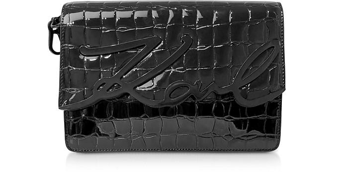K/Signature Black Croco Leather Shoulder Bag w/ Signature - Karl Lagerfeld / カール ラガーフェルド