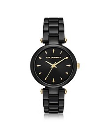 Aurelie Black Stainless Steel Women's Quartz Watch w/Signature Dial - Karl Lagerfeld