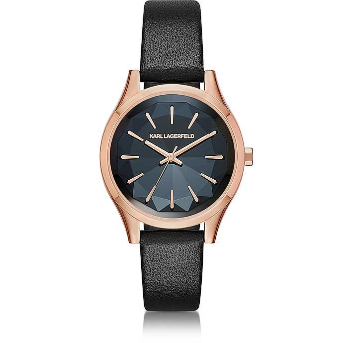 Janelle Rose Gold-tone PVD Stainless Steel Women's Quartz Watch w/Black Leather Strap - Karl Lagerfeld