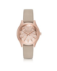 Janelle Rose Gold-tone PVD Stainless Steel Women's Quartz Watch w/Dove Leather Strap - Karl Lagerfeld