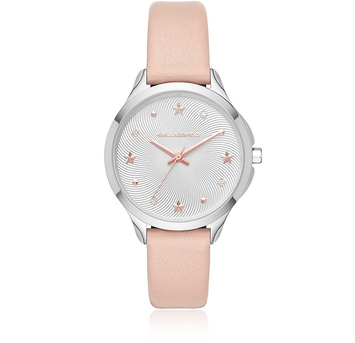 Karoline Stainless-Steel and Pink Leather Watch - Karl Lagerfeld
