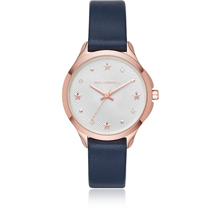 Karoline Rose Gold-Tone and Navy Leather Watch - Karl Lagerfeld