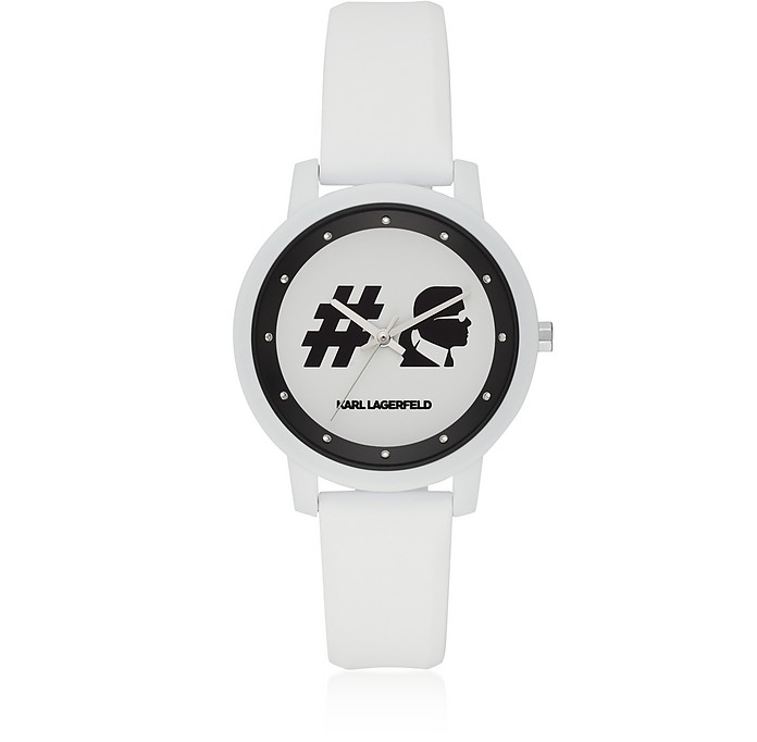 Camille Hashtag and White Silicone Women's Watch - Karl Lagerfeld