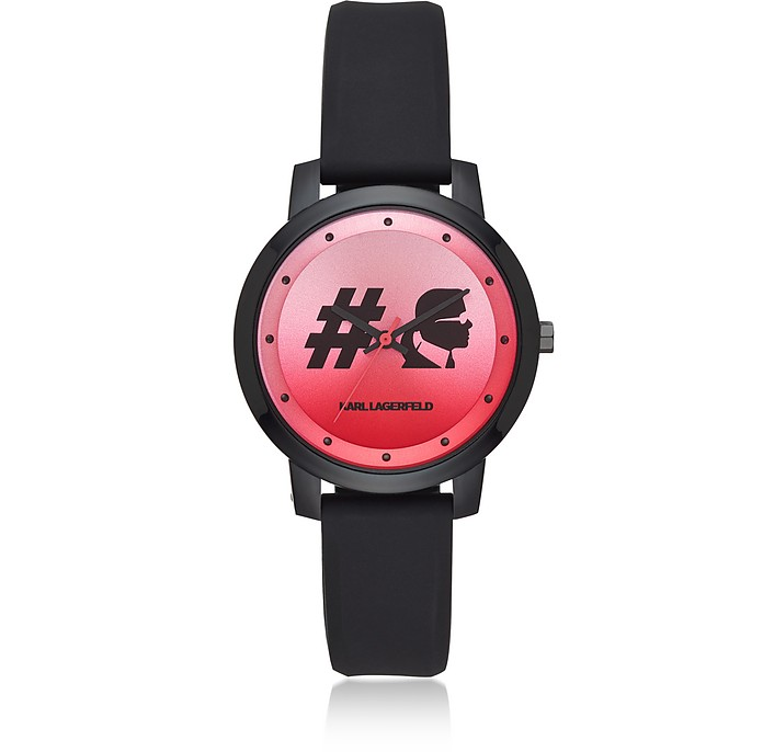 Camille Hashtag and Black Silicone Women's Watch - Karl Lagerfeld