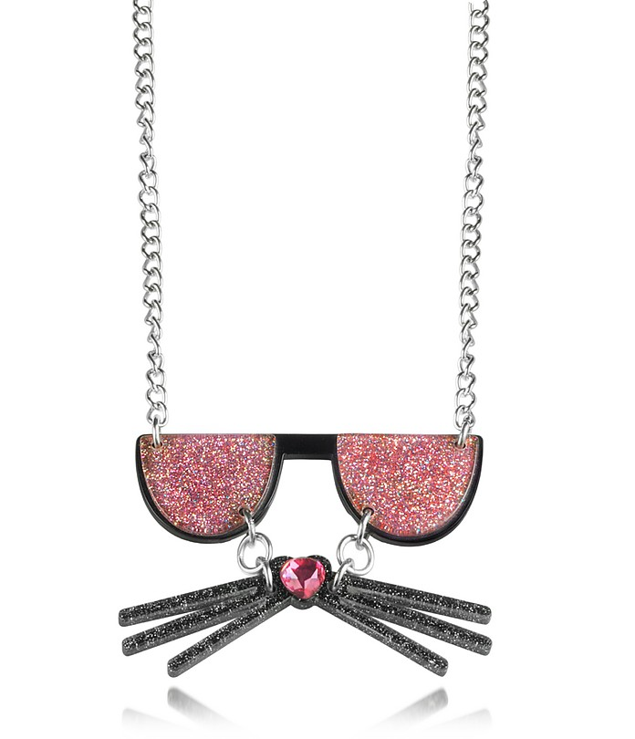 K/Kocktail Necklace w/Glitter Effect - Karl Lagerfeld