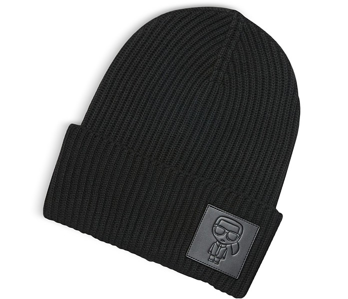 K/Ikonik Patch Cappello in Lana Nera - Karl Lagerfeld