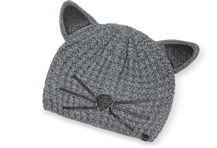 Karl Lagerfeld Mouse Grey Choupette Knit Hat at FORZIERI e856cc54867