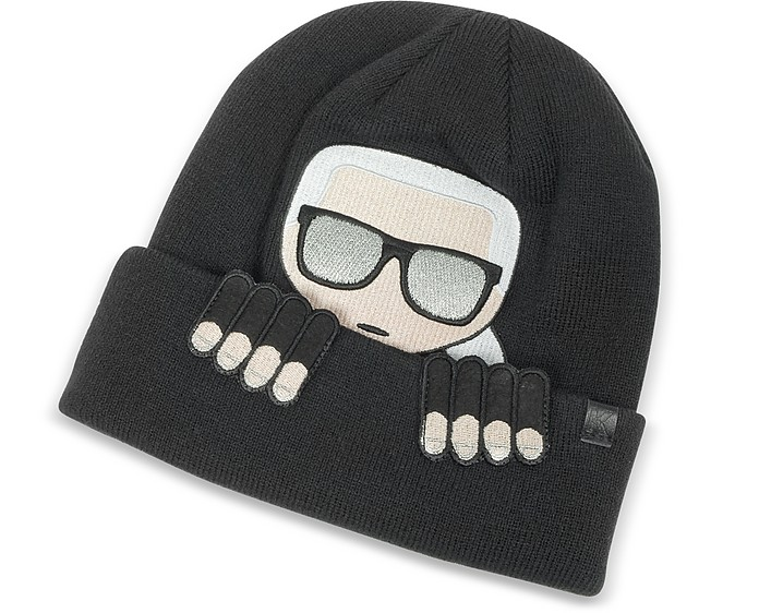 Karl Lagerfeld K Ikonik Beanie Knit Hat at FORZIERI 497de0848db8