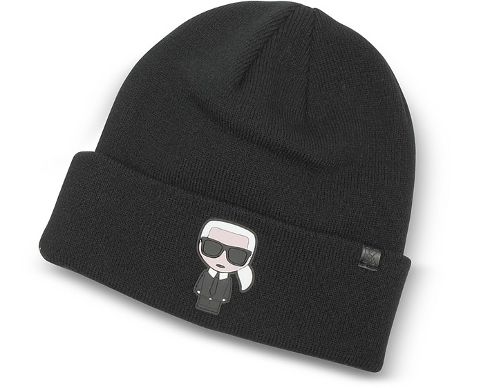 Karl Lagerfeld K Ikonik Rubber Patch Beanie Knit Hat at FORZIERI 1f88076cfb18