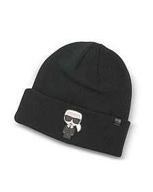 K/Ikonik Rubber Patch Beanie Knit Hat - Karl Lagerfeld