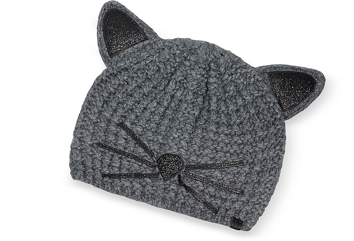 Cappello in Lana  Antracite Choupette Luxury - Karl Lagerfeld