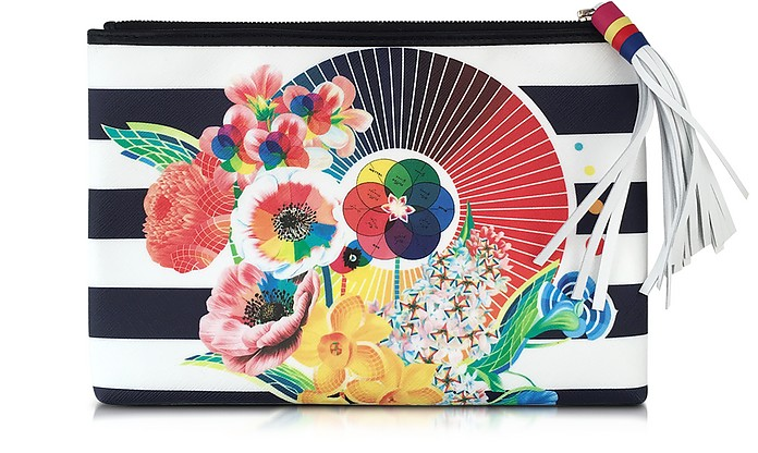 Marine Floral Wheel Canvas Pouch - Mary Katrantzou