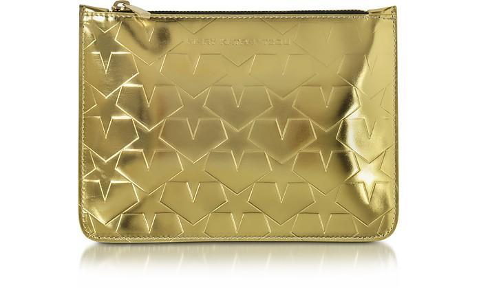 Laminated Gold Leather Pouch w/Stars - Mary Katrantzou