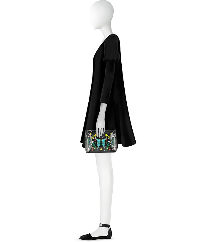Pochette in Vernice Nera Stampa Graphic Butterfly Mary Katrantzou GPvWC
