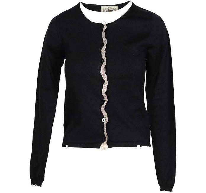 Black Ruffles Women's Sweater - Pink Memories
