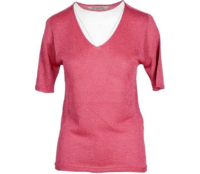 Pink V-Neck Women's Sweater - Pink Memories