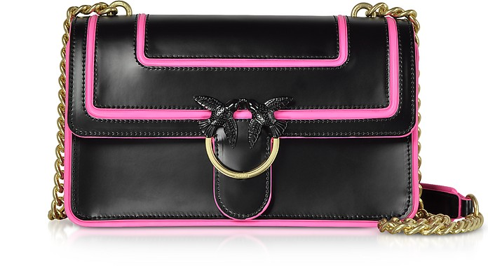 Love Fluo Pink and Black Shoulder Bag - Pinko